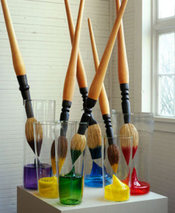 """Making Before Meaning: Paintbrush Group"" 2007 Glass, wood, sisal, dye, steel Purple brush: 77 x 16 x 10"